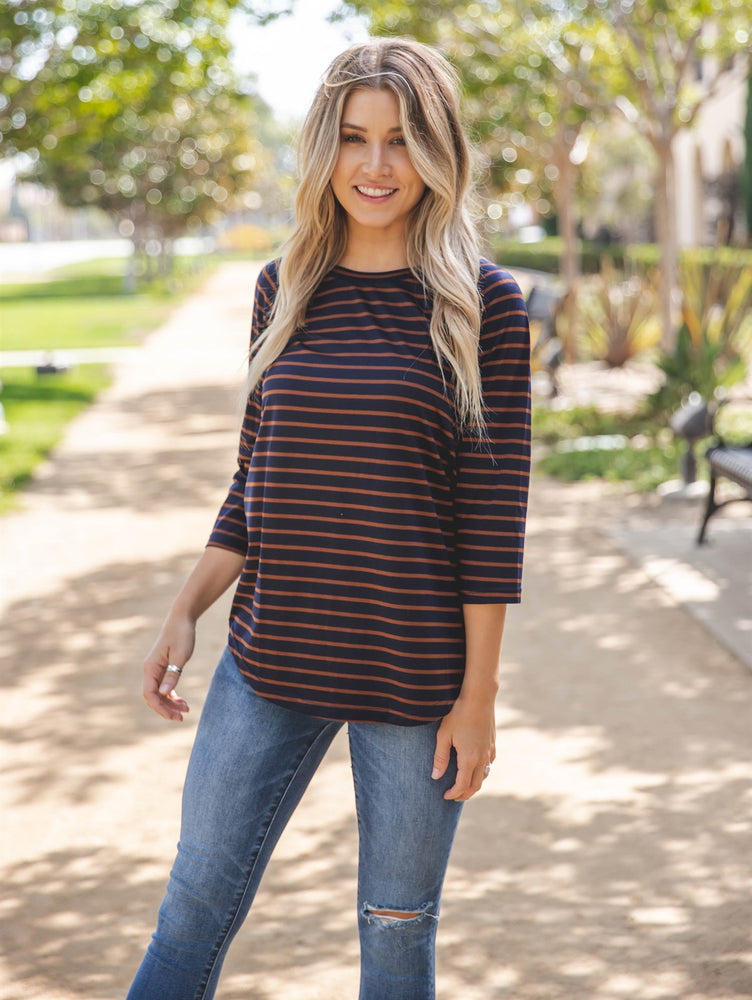 The Nova Top - Navy/Brown