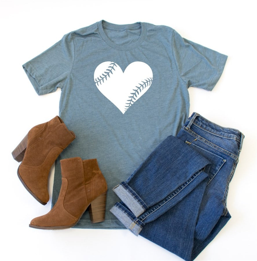 Baseball Heart Crew Neck Tee - Tickled Teal LLC