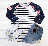 Floral Stripe Raglan - Tickled Teal LLC