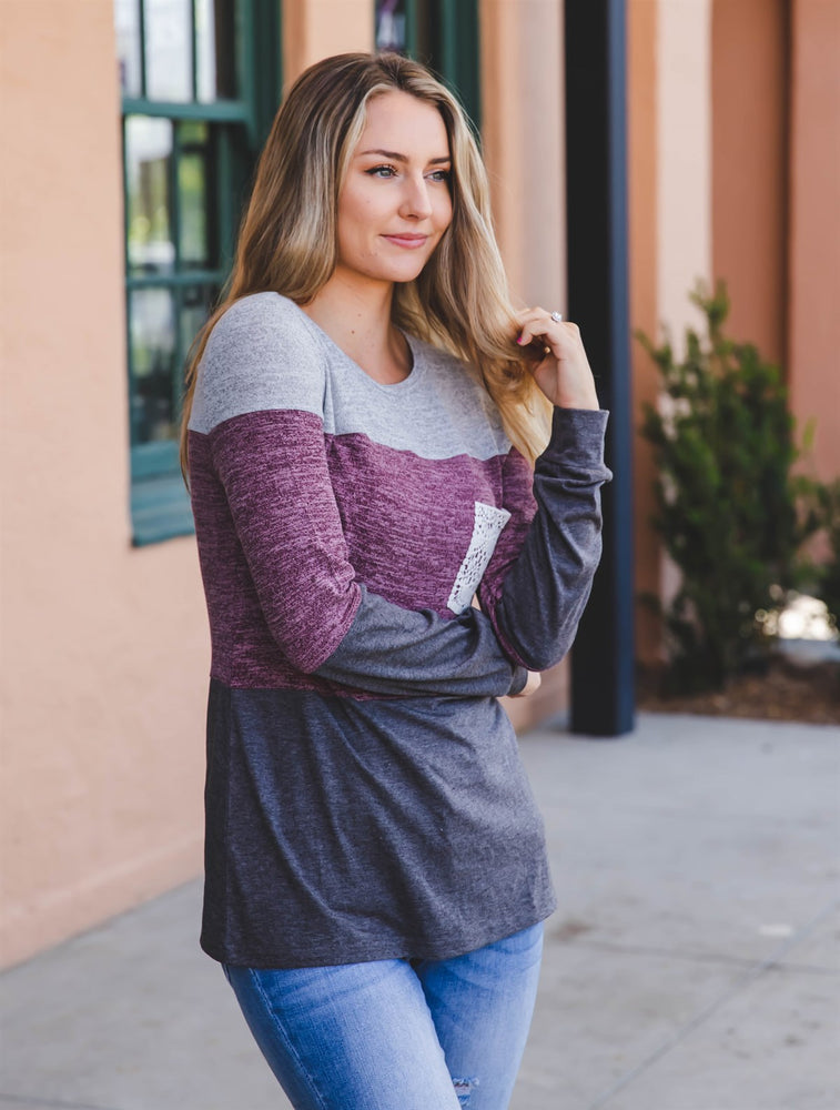 The Lace Pocket Colorblock Top - Gray/Purple/Charcoal