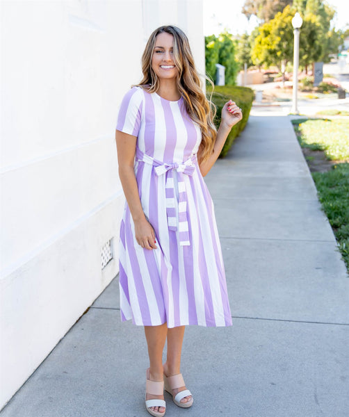 Cali Striped Tie Dress - Lilac