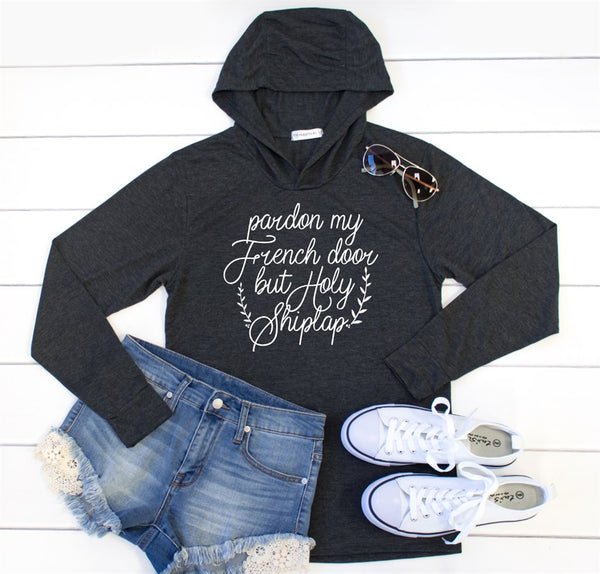 Pardon My French Door Graphic Hoodie - Tickled Teal LLC