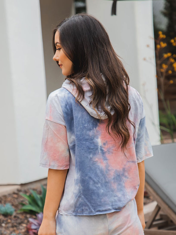 Tie Dye Hooded Tee - Gray Pink