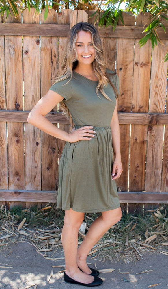 Gathered T-shirt Dress - Olive - Tickled Teal LLC