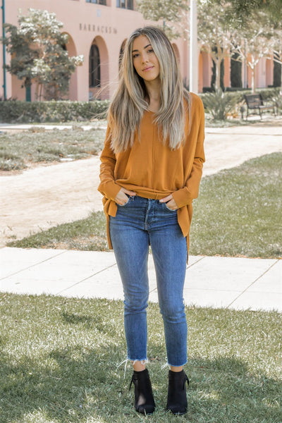 The Savvy Sweater - Mustard/Orange - Tickled Teal LLC