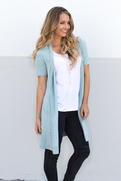 Short Sleeve Pocket Cardigan - Slate Blue - Tickled Teal LLC