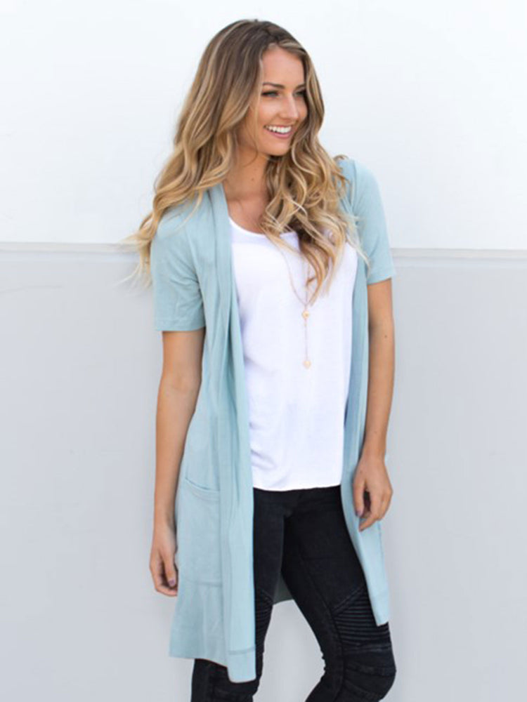 Short Sleeve Pocket Cardigan - Slate Blue