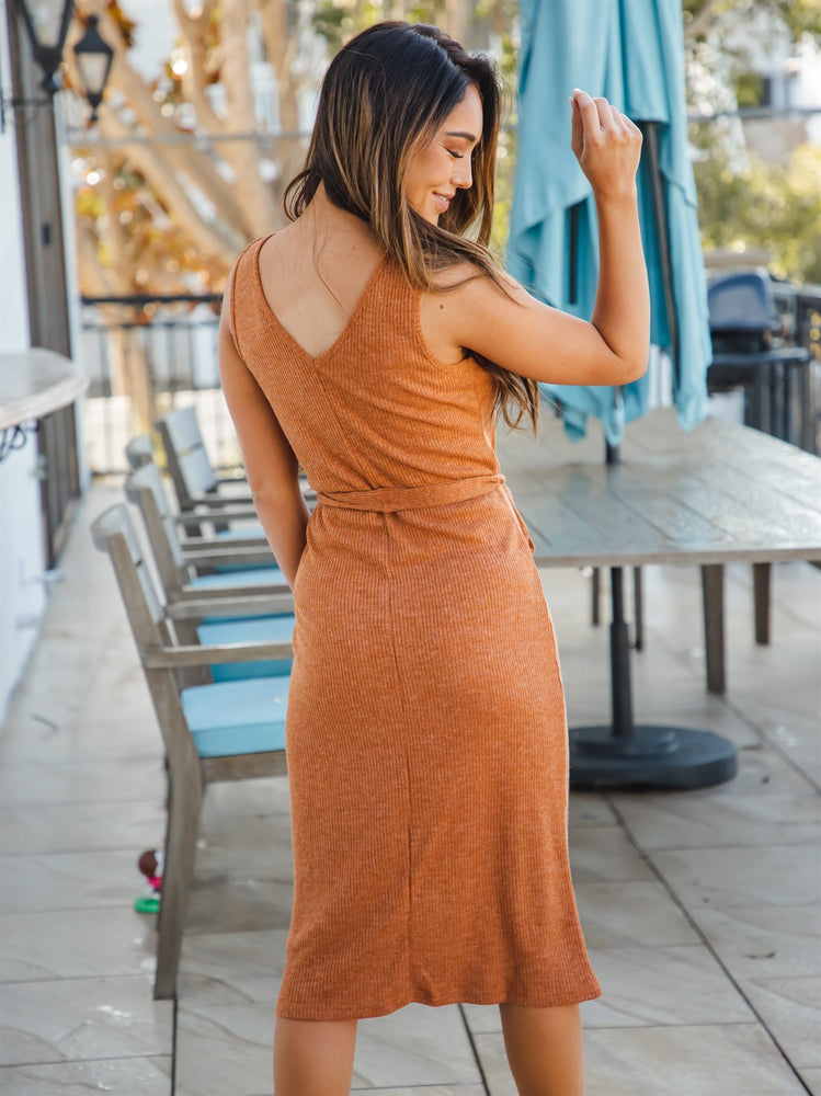 Lennon Dress - Clay/Orange