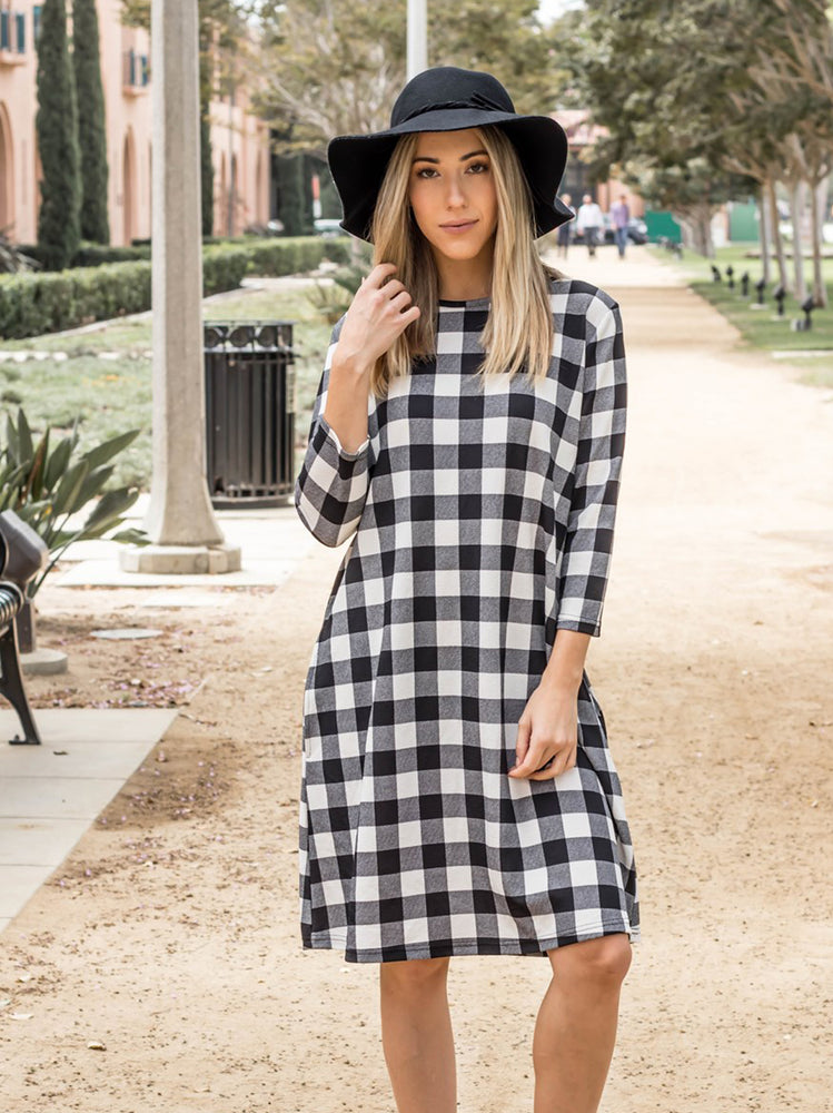 The Plaid Camille Dress - White