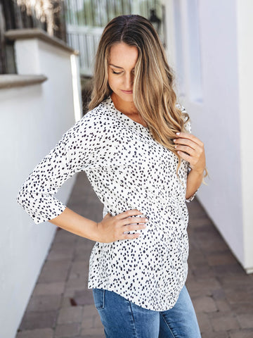 The Brooks Top - Black/White Polka Dot