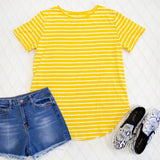 Short Sleeve Striped Mia Top - Yellow