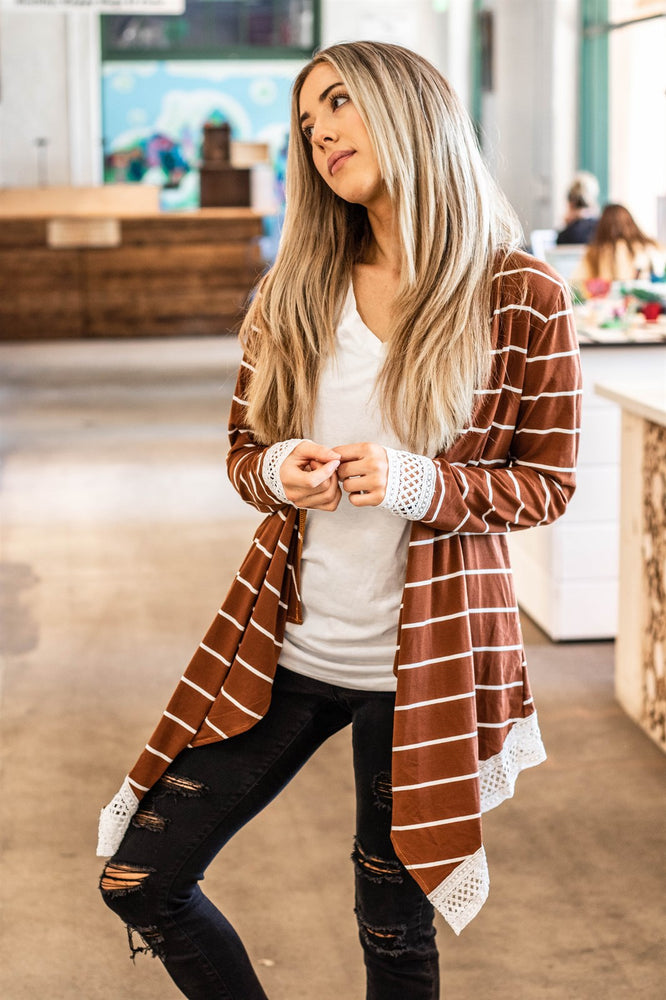 The Harlow Cardigan - Brick Brown