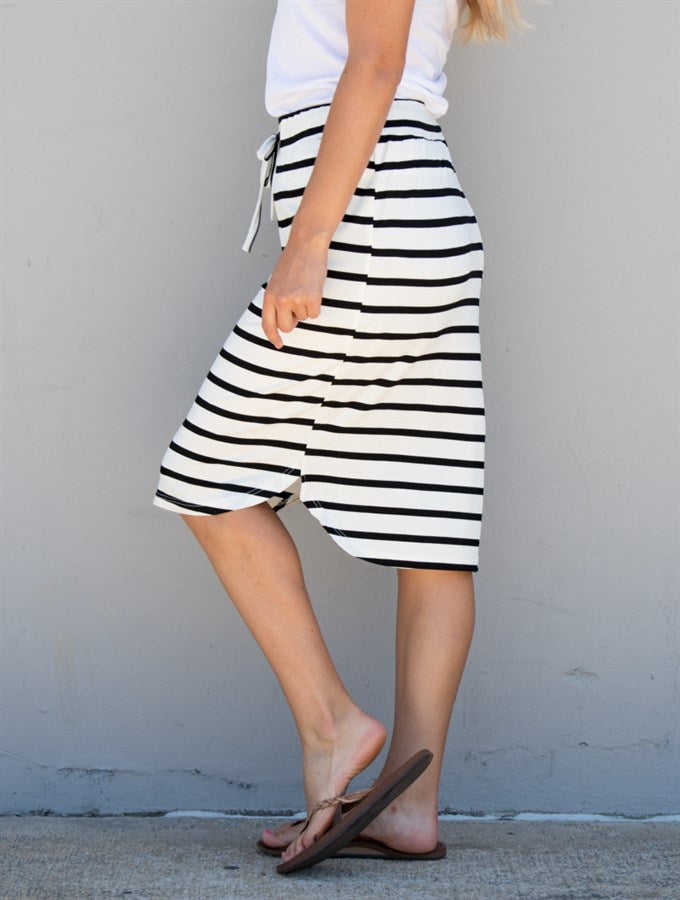 Stripe Weekend Skirt - White Stripe - Tickled Teal LLC