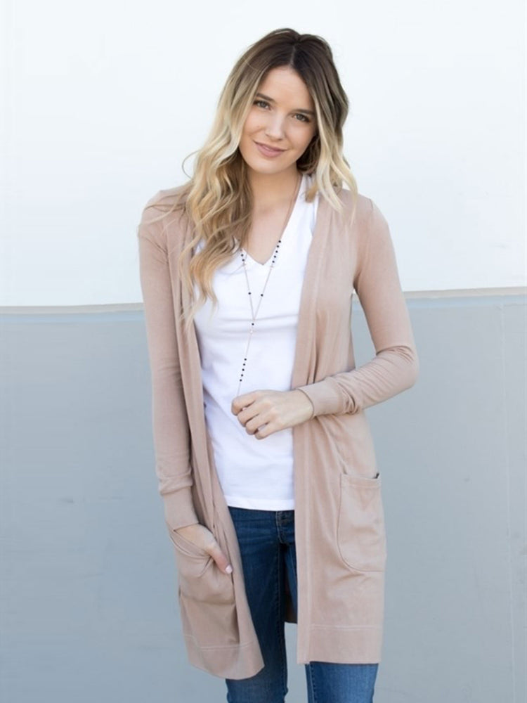 Long Pocket Cardigan - Tan