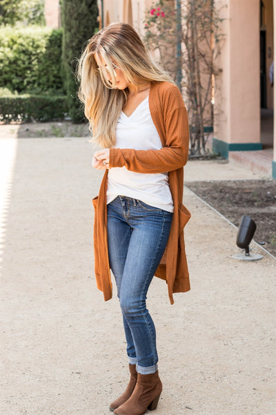 The Scarlet Cardigan - Burnt Orange - Tickled Teal LLC