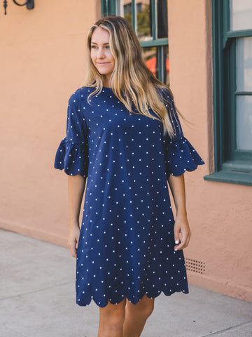 Polka Dot Haylie Scallop Dress - Navy