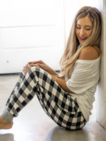 Buffalo Plaid Jogger- White