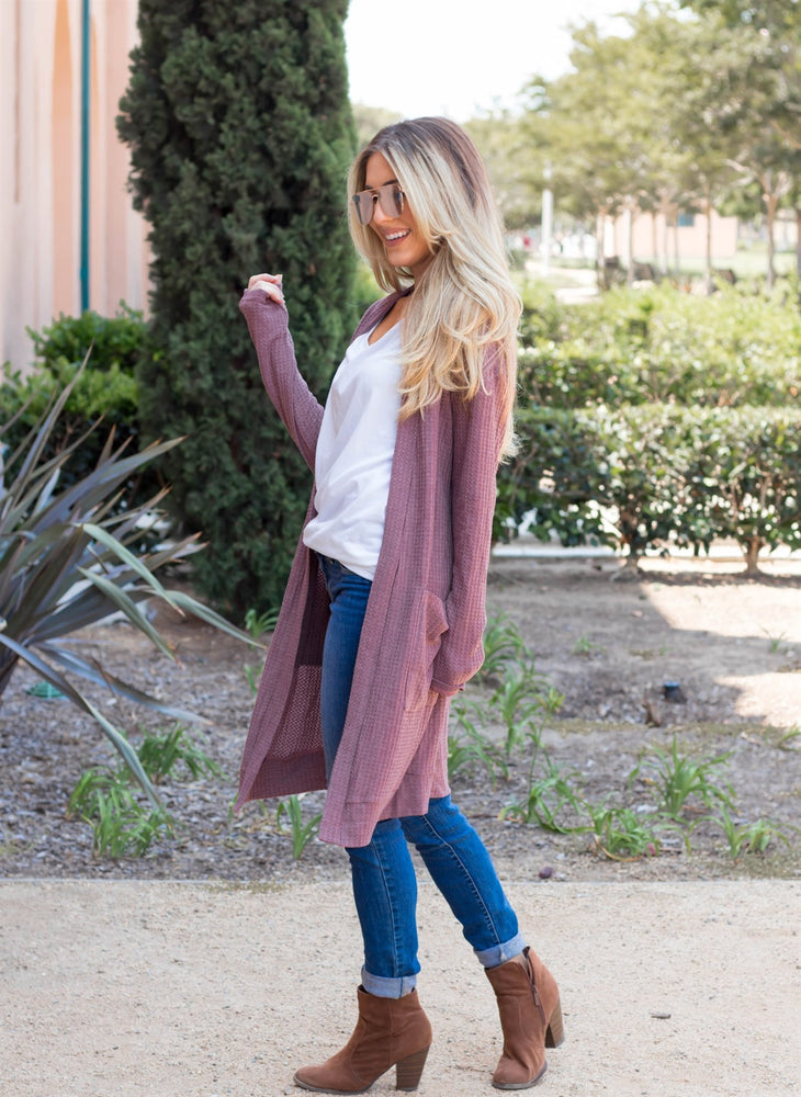 The Scarlet Cardigan - Mauve/Purple - Tickled Teal LLC