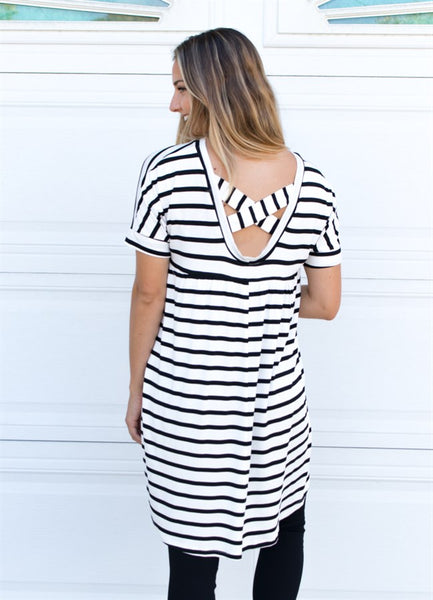 Criss Cross Back Tunic - White - Tickled Teal LLC