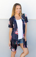 Short Sleeve Floral Knit Cardigan - Tickled Teal LLC