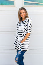 Stripe Side Pocket Tunic - White - Tickled Teal LLC
