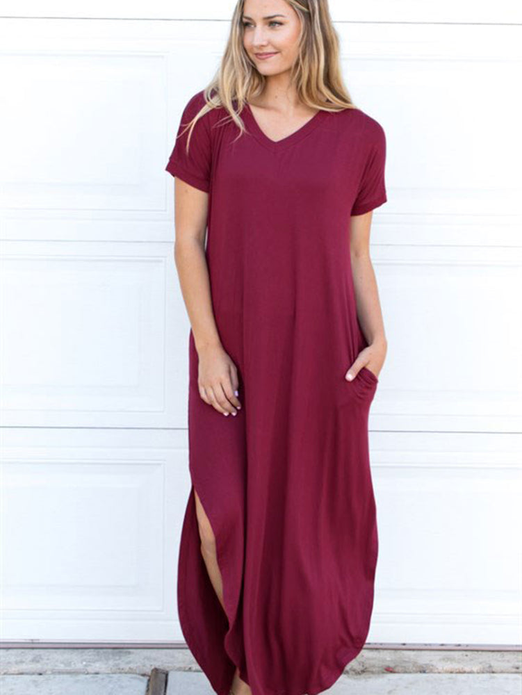 Relaxed Maxi Dress - Wine