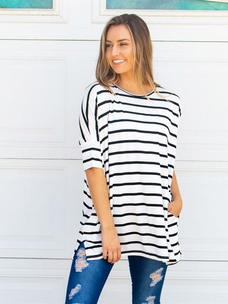 Stripe Side Pocket Tunic - White