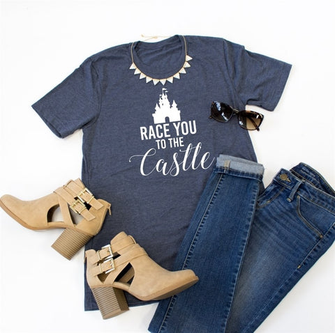 Race you to the castle Crew Neck Tee - Tickled Teal LLC