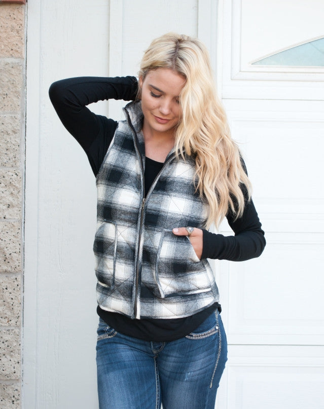 Navy Plaid Puffer Vest - Tickled Teal LLC