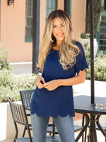 Scallop Edge Top - Navy
