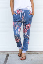 Floral Jogger Pants - Blue - Tickled Teal LLC