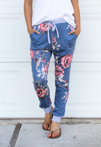 Floral Lounger Pants - Blue