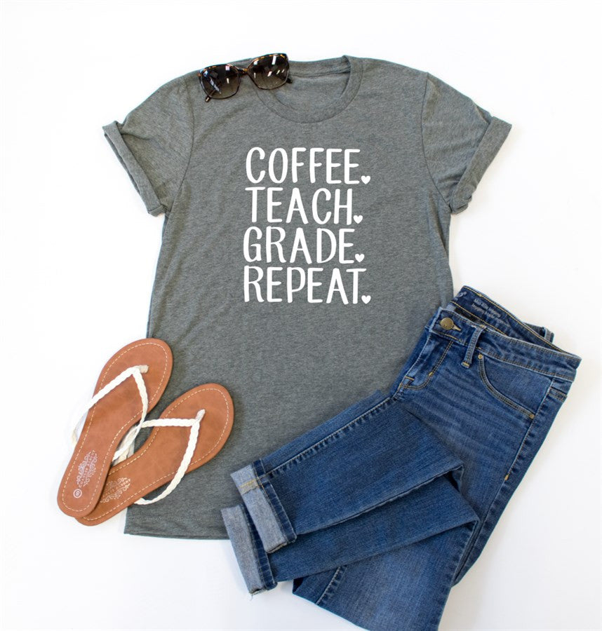 Coffee Teach Grade Repeat Crew Neck Tee - Tickled Teal LLC