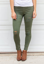 Distressed Jeggings - Olive - Tickled Teal LLC