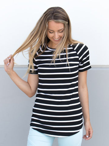 Short Sleeve Stripe Tunic - Black