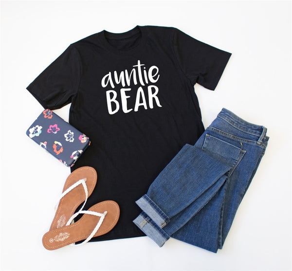 Auntie Bear Crew Neck Tee - Tickled Teal LLC