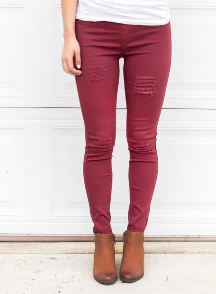 Distressed Jeggings - Maroon - Tickled Teal LLC