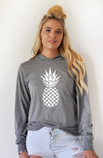 White Pineapple Graphic Hoodie - Tickled Teal LLC