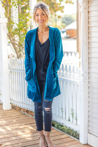 The Poppy Velvet Cardigan - Teal - Tickled Teal LLC