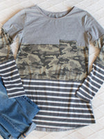 Stripe and Camo Colorblocked Tunic - Gray