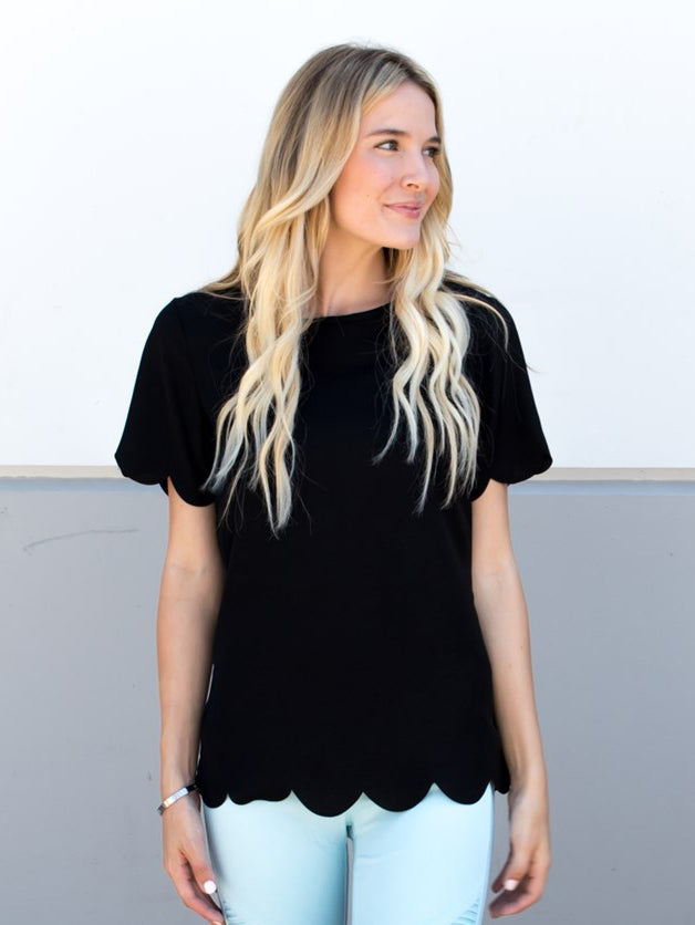 Scallop Edge Top - Black