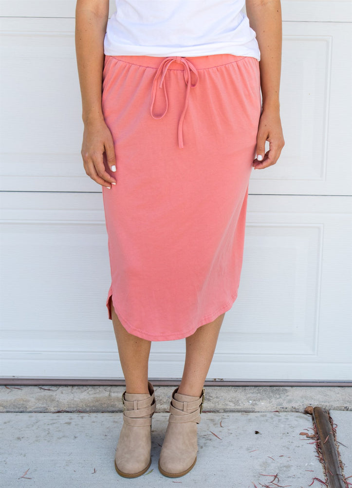 Laidback Midi Skirt - Salmon - Tickled Teal LLC