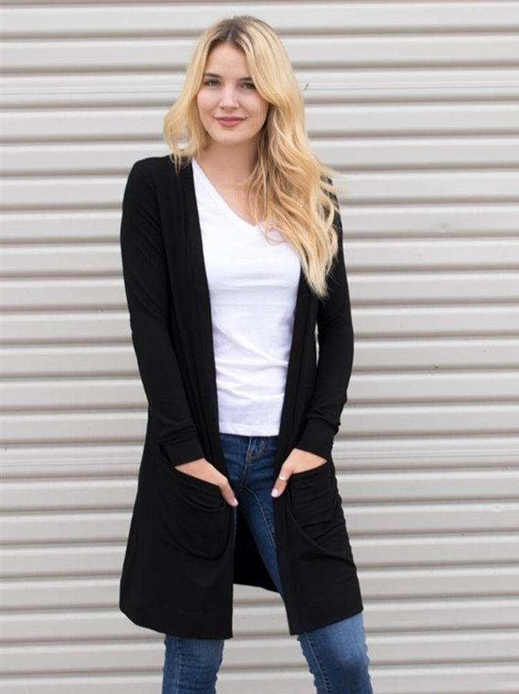 Long Pocket Cardigan - Black