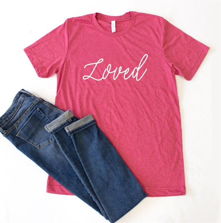 Loved Crew Neck Tee - Tickled Teal LLC
