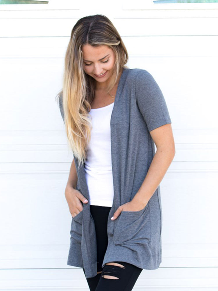 Short Sleeve Perfect Boyfriend Cardigan - Gray