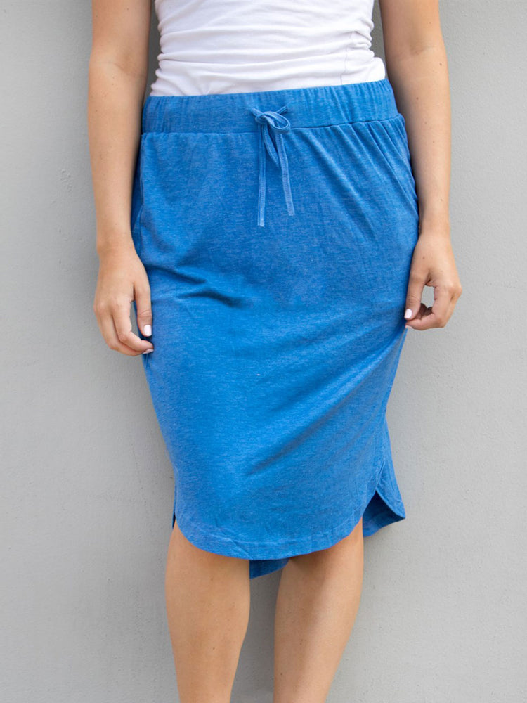 Solid Weekend Skirt - Blue - S-3X