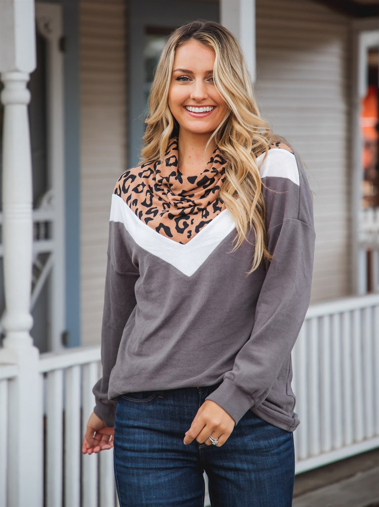 The Marcy Top - Brown Leopard/Charcoal