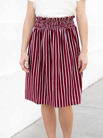 Striped Tracie Skirt - Burgundy