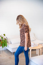Short Sleeve Leopard Top | S-3X - Brown
