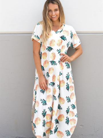Pineapple Relaxed Maxi Dress - Tickled Teal LLC